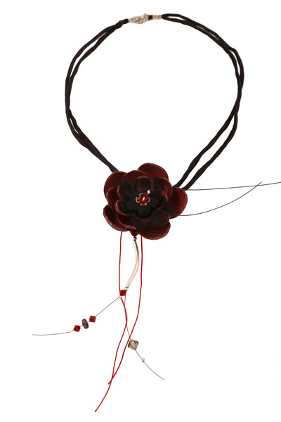 Jt Ασημένιο δερμάτινο κολιέ τσόκερ μπορντώ λουλούδι