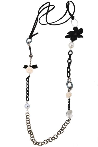 Jt Μακρύ ασημένιο κολιέ μαύρο λουλούδι με shell pearls