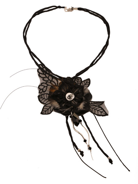 Jt Τσόκερ μαύρα λουλούδια με ασήμι, δέρμα, δαντέλα & Swarovski