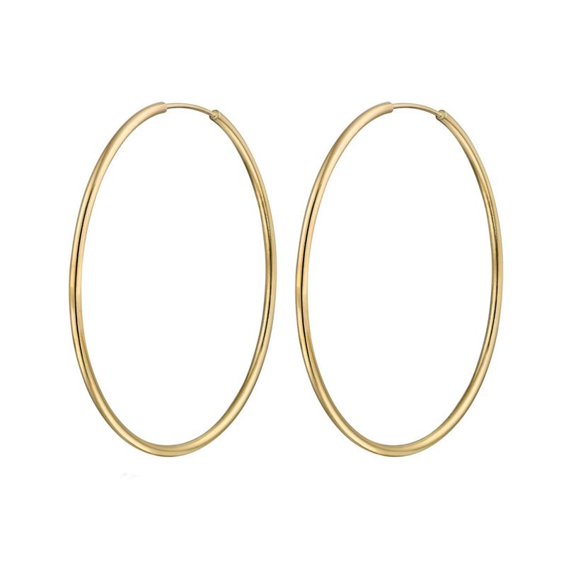 Jt Σκέτα σκουλαρίκια κρίκοι από επιχρυσωμένο ασήμι 4.2 cm