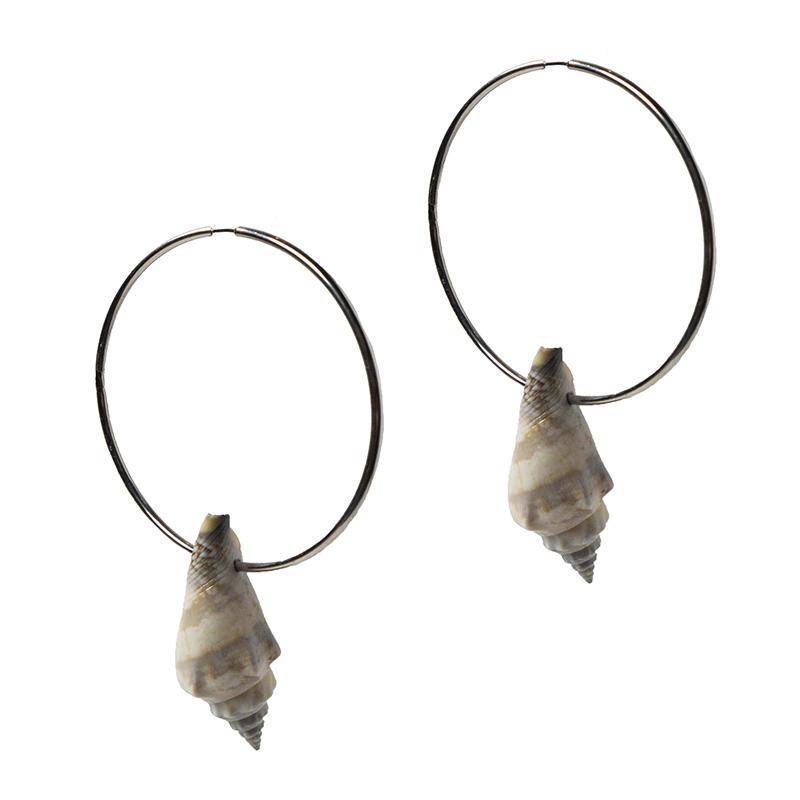 Jt Ασημένια σκουλαρίκια μεγάλοι κρίκοι με φυσικό κοχύλι