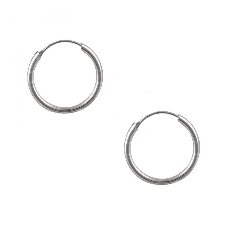 Jt Ανδρικά και γυναικεία σκουλαρίκια μικροί κρίκοι ασημένιοι 1.6cm