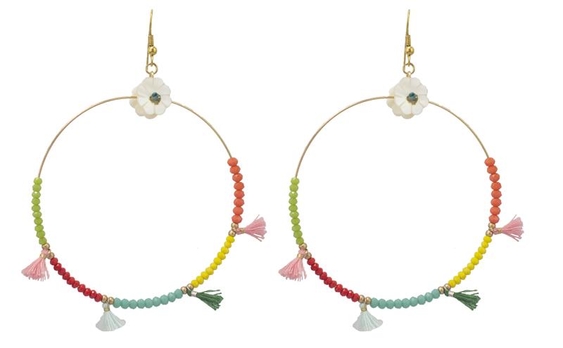 Jt Ασημένια έθνικ σκουλαρίκια κρίκοι με πολύχρωμες χάντρες
