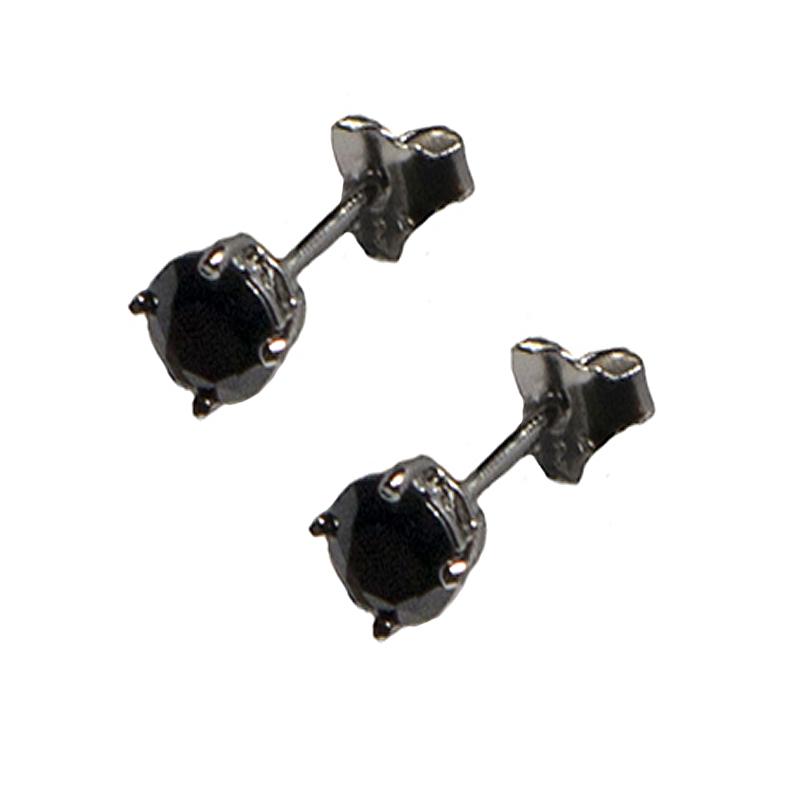 Jt Ασημένια καρφωτά ανδρικά σκουλαρίκια μαύρα