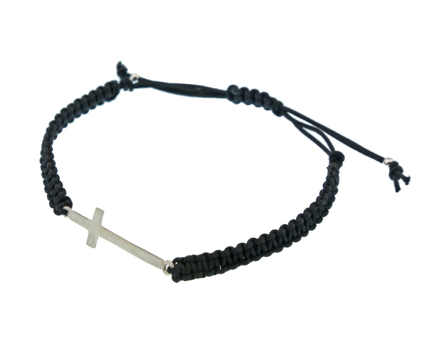 theodorajewellery Jt Ανδρικό Ασημένιο Μακραμέ Βραχιόλι Σταυρός 566a54a7c5b