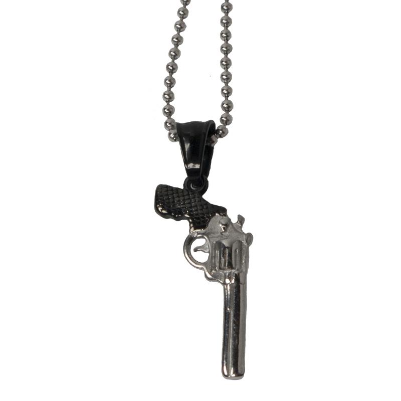 Jt Ατσάλινο ανδρικό μακρύ κολιέ όπλο πιστόλι