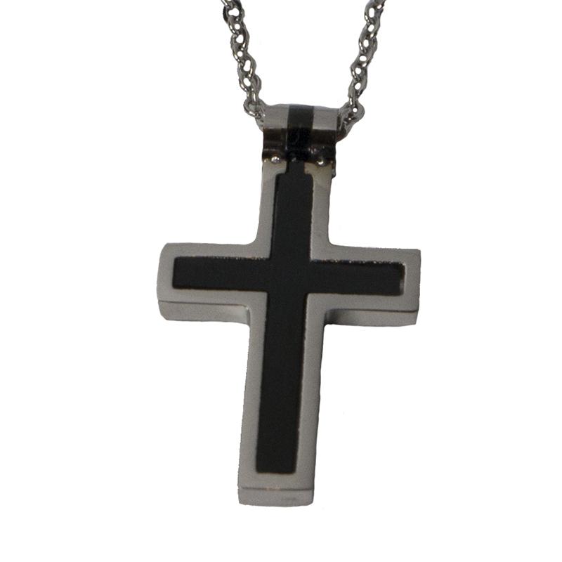 Jt Ατσάλινο ανδρικό κολιέ σταυρός