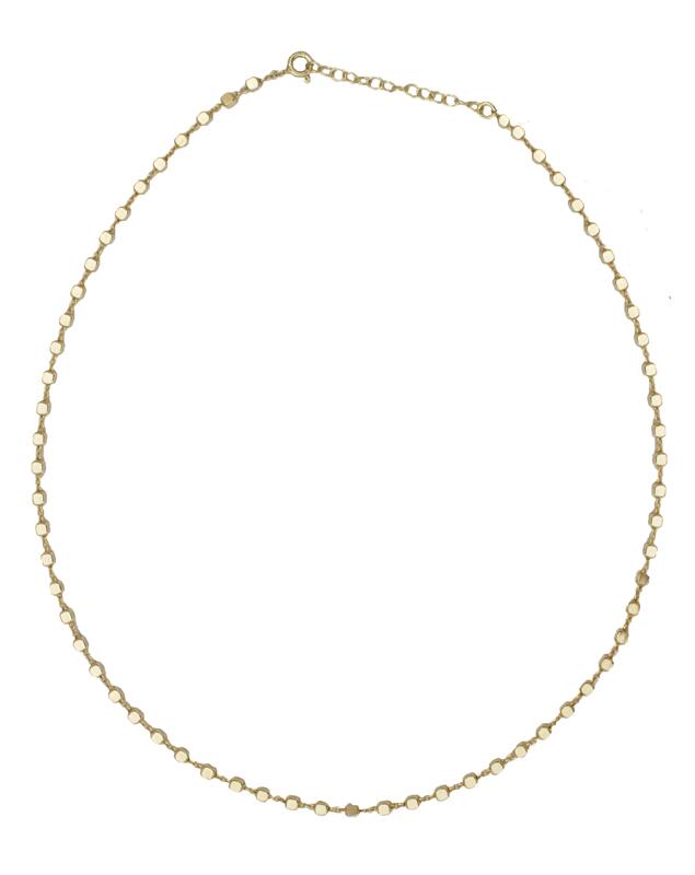 Jt Ασημένιο χρυσό κολιέ αλυσίδα λεπτοί κύβοι