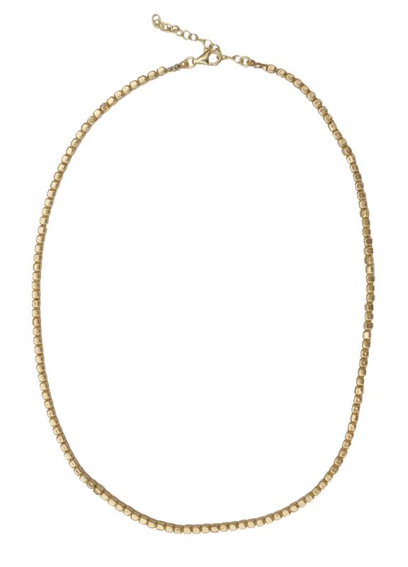Jt Ασημένιο χρυσό κολιέ αλυσίδα κύβοι