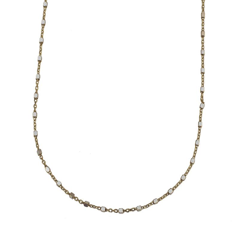 Jt Ασημένια χρυσή αλυσίδα κολιέ μικροί κύβοι