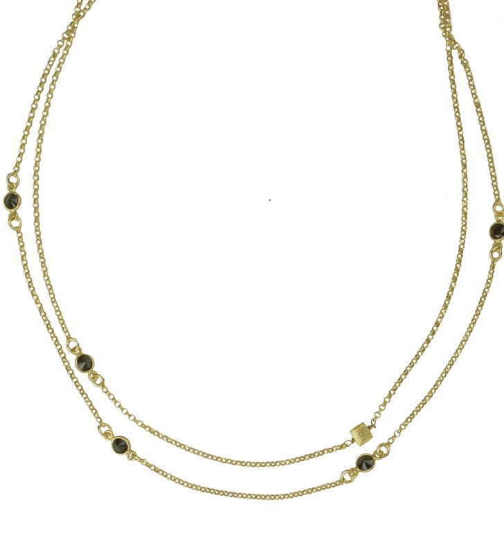 Jt Ασημένιο σετ χρυσές αλυσίδες κολιέ με μαύρα ζιργκόν