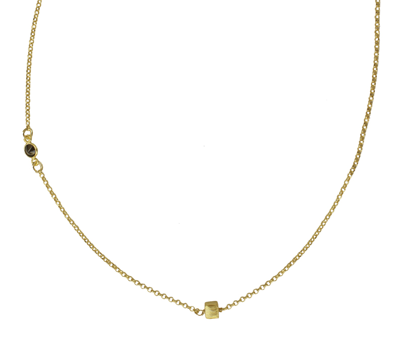 Jt Ασημένια χρυσή αλυσίδα κολιέ κύβος μαύρο ζιργκόν