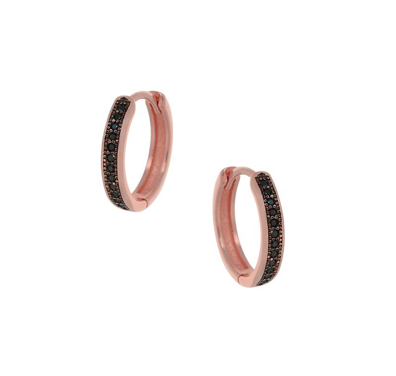 Jt Σκουλαρίκια κρίκοι ροζ ασήμι με μαύρα ζιργκόν