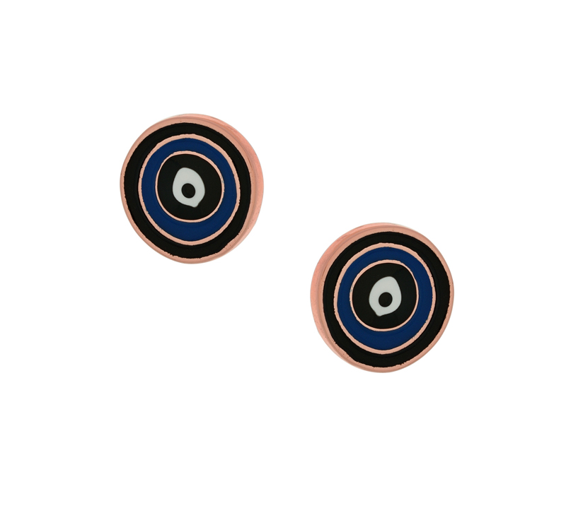 Jt Ασημένια σκουλαρίκια μάτια κύκλοι με μπλε σμάλτο