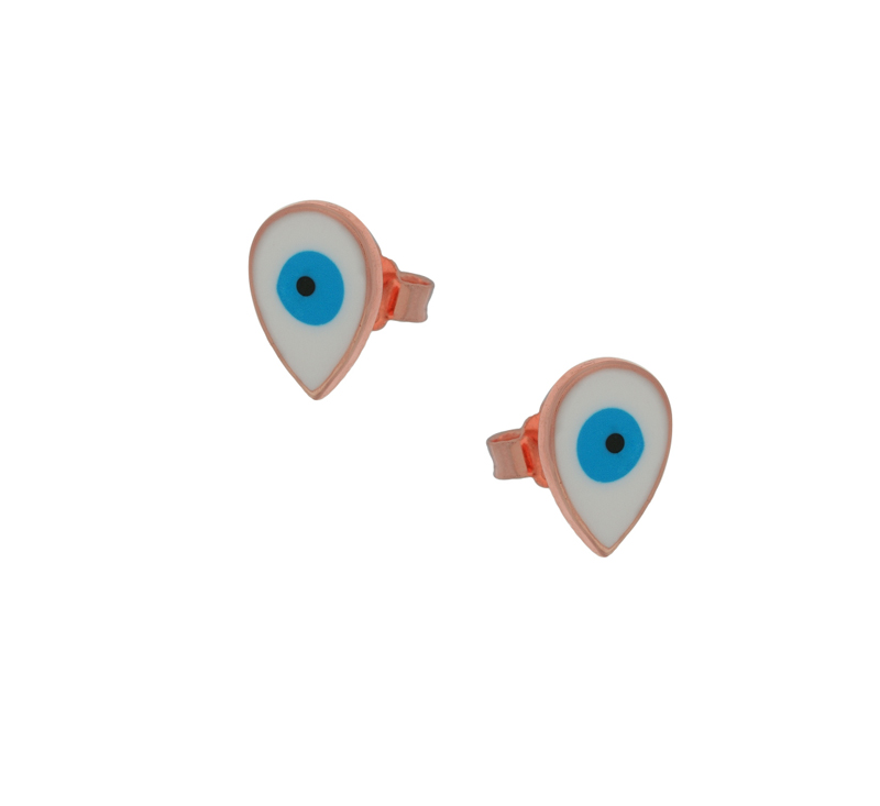 Jt Ασημένια σκουλαρίκια μάτι σταγόνα με λευκό σμάλτο