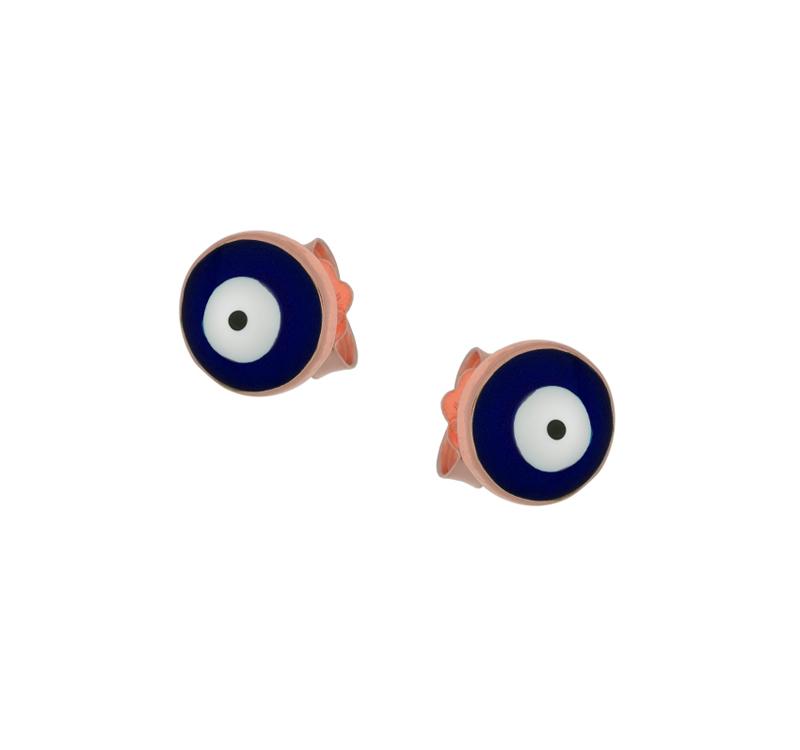 Jt Ασημένια σκουλαρίκια μάτι στρογγυλό με μπλε σμάλτο