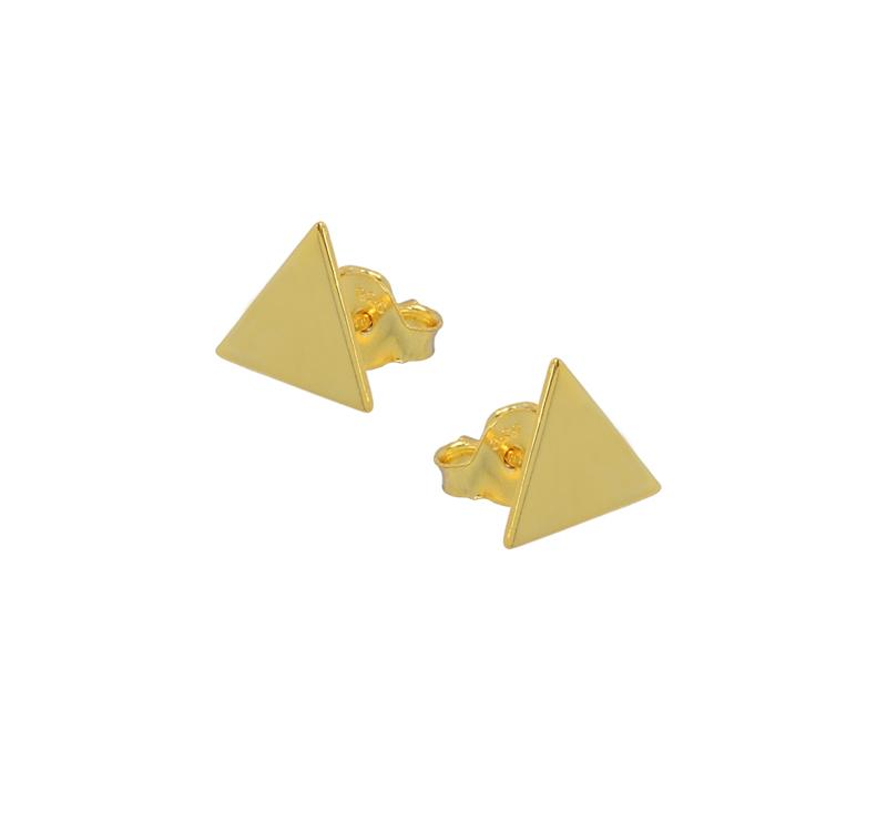 Jt Ασημένια επιχρυσωμένα καρφωτά σκουλαρίκια τρίγωνα