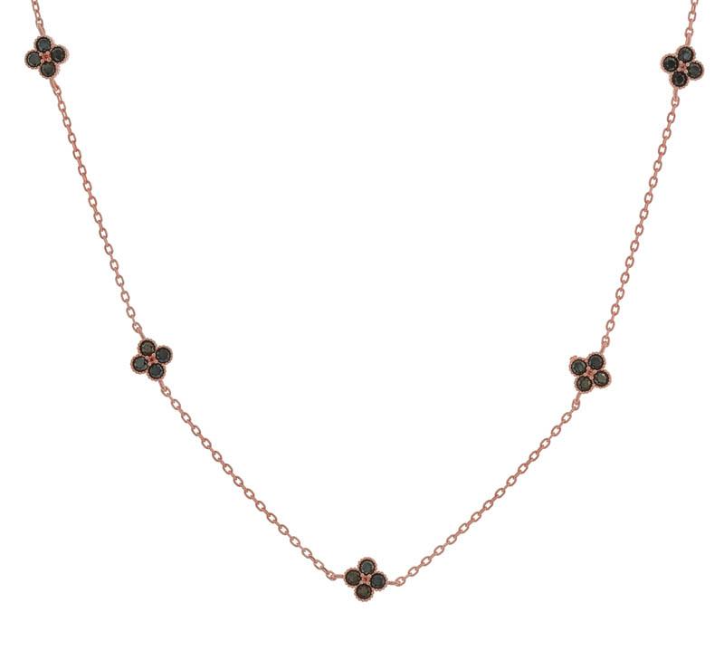 Jt Ασημένιο κολιέ ροζ αλυσίδα με σταυρούς από μαύρα ζιργκόν
