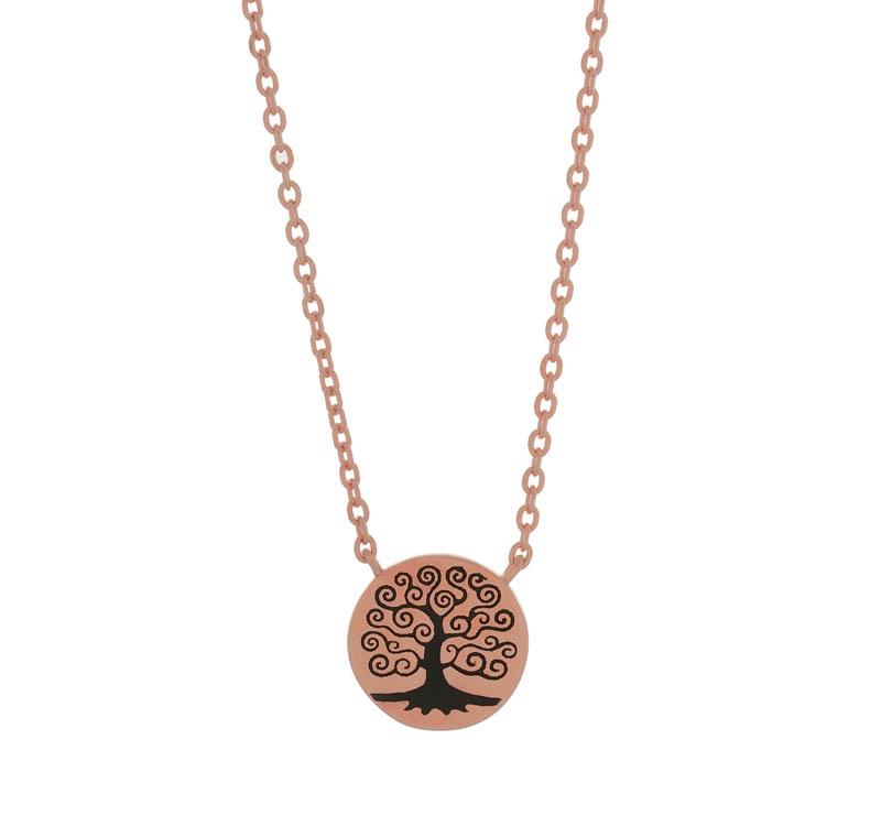 Jt Ασημένιο κολιέ ροζ Δέντρο της Ζωής με μαύρο σμάλτο