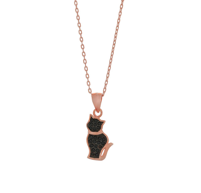 Jt Ασημένιο κολιέ ροζ αλυσίδα με γάτα από μαύρα ζιργκόν