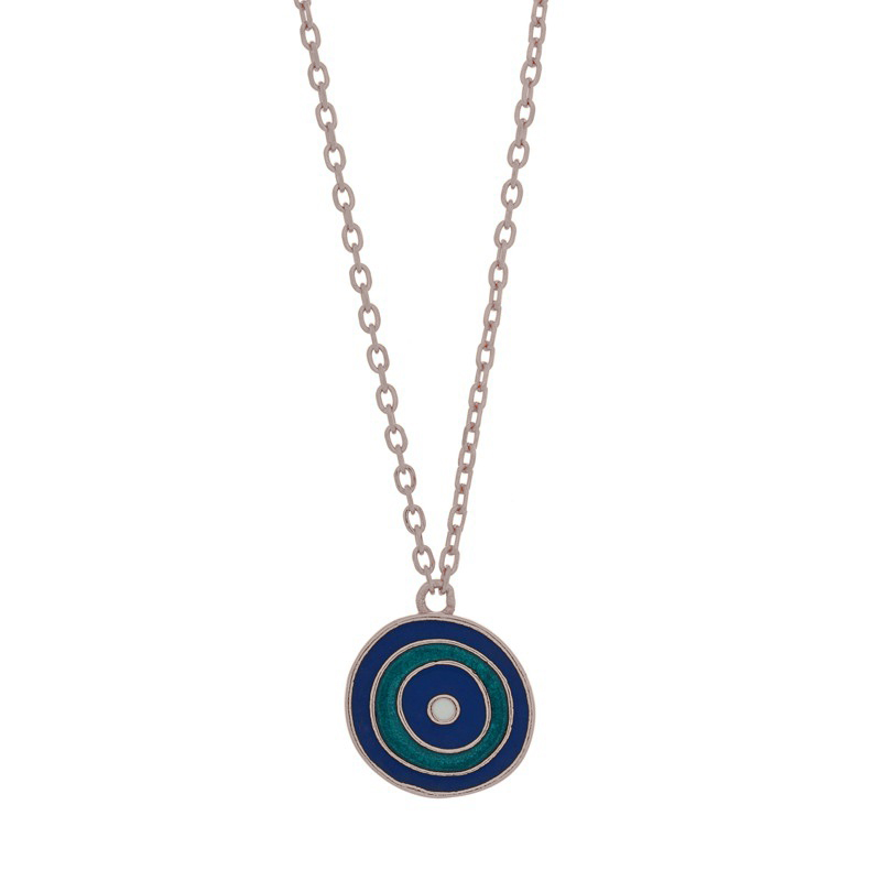 Jt Ασημένιο κολιέ μάτι-στόχος με μπλε σμάλτο σε αλυσίδα