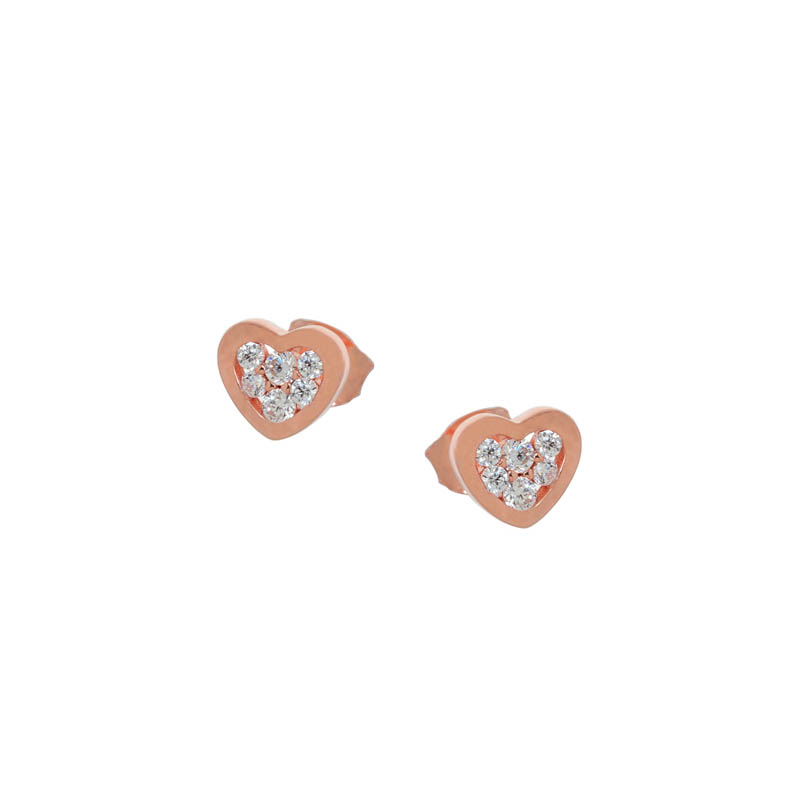 Jt Σκουλαρίκια καρδιές από ροζ ασήμι με λευκά ζιργκόν