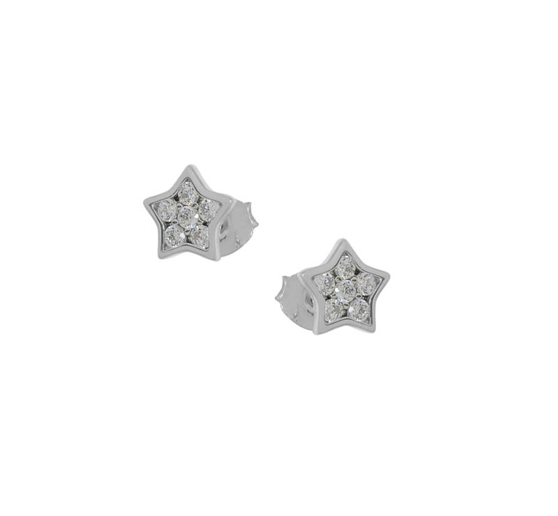 Jt Ασημένια σκουλαρίκια αστέρια με λευκά ζιργκόν