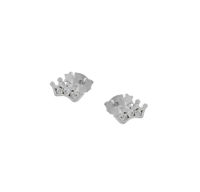 Jt Ασημένια σκουλαρίκια κορώνα με λευκά ζιργκόν