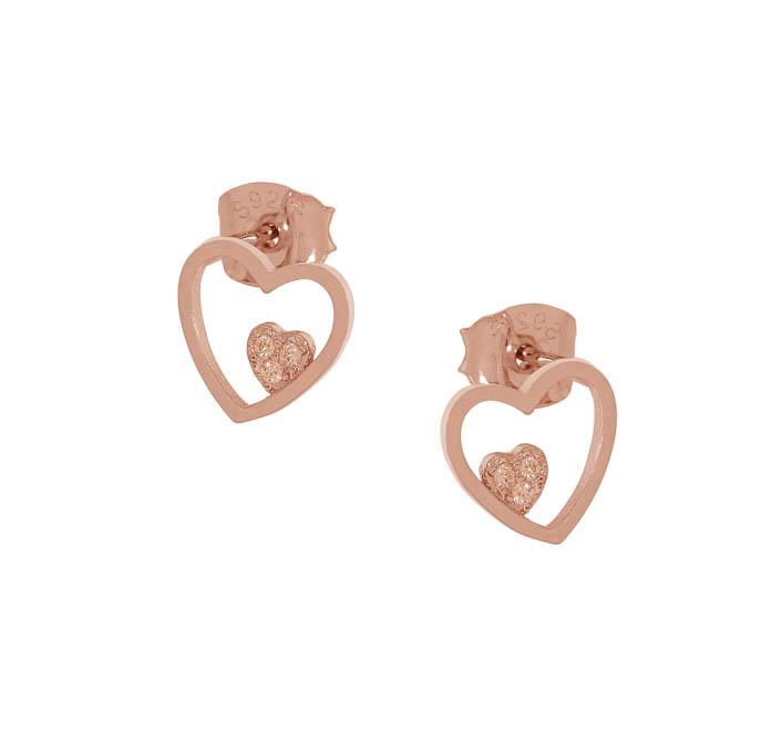 Jt Σκουλαρίκια καρδιές από ροζ ασήμι με καρδιά ζιργκόν