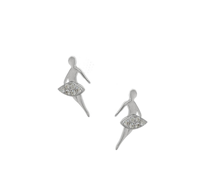Jt Ασημένια σκουλαρίκια μπαλαρίνες με λευκά ζιργκόν