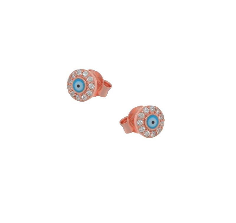 Jt Ασημένια σκουλαρίκια μάτι στόχος τιρκουάζ από ροζ ασήμι