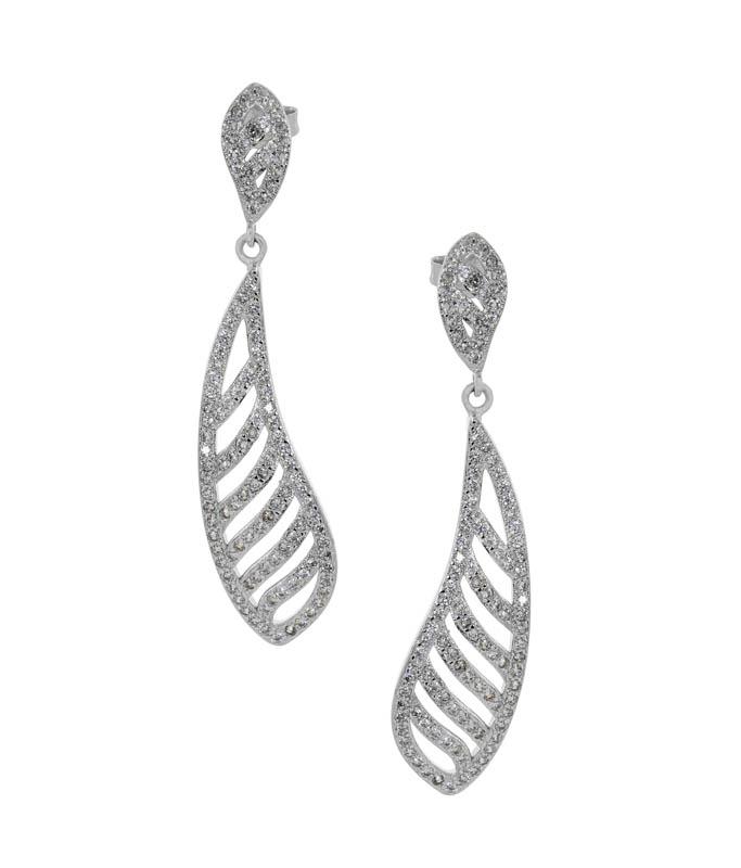 Jt Ασημένια κρεμαστά σκουλαρίκια σταγόνα με λευκά ζιργκόν