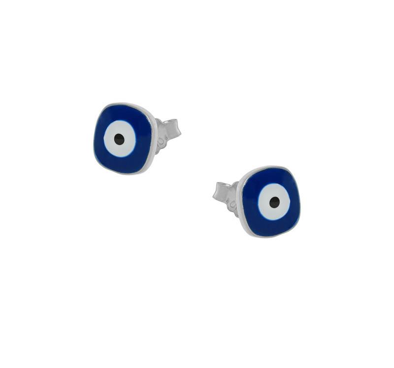 Jt Ασημένια σκουλαρίκια μάτια τετράγωνα με μπλε σμάλτο