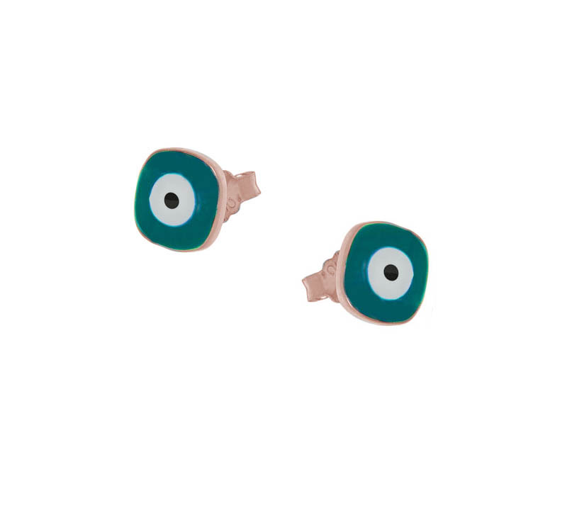 Jt Ασημένια σκουλαρίκια μάτια τετράγωνα με πετρόλ σμάλτο