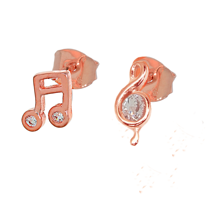 Jt Σκουλαρίκια κλειδί του Σολ από ροζ ασήμι με ζιργκόν