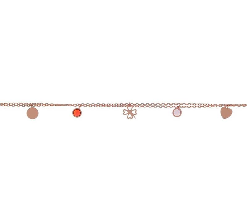 Jt Ροζ ασημένιο βραχιόλι τετράφυλλο τριφύλι με ζιργκόν