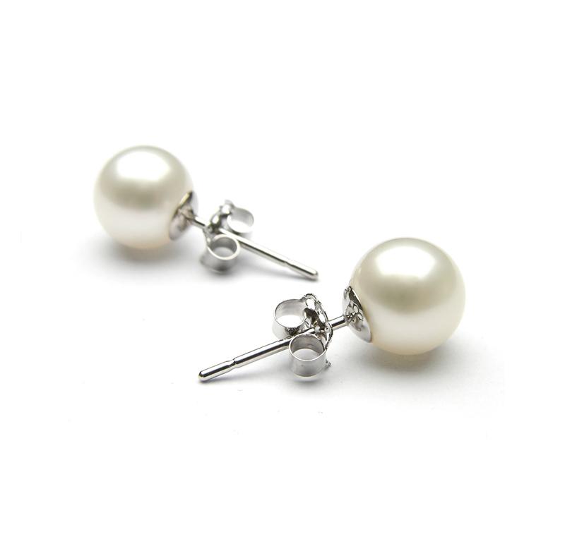 Jt Ασημένια καρφωτά σκουλαρίκια λευκές πέρλες 10mm