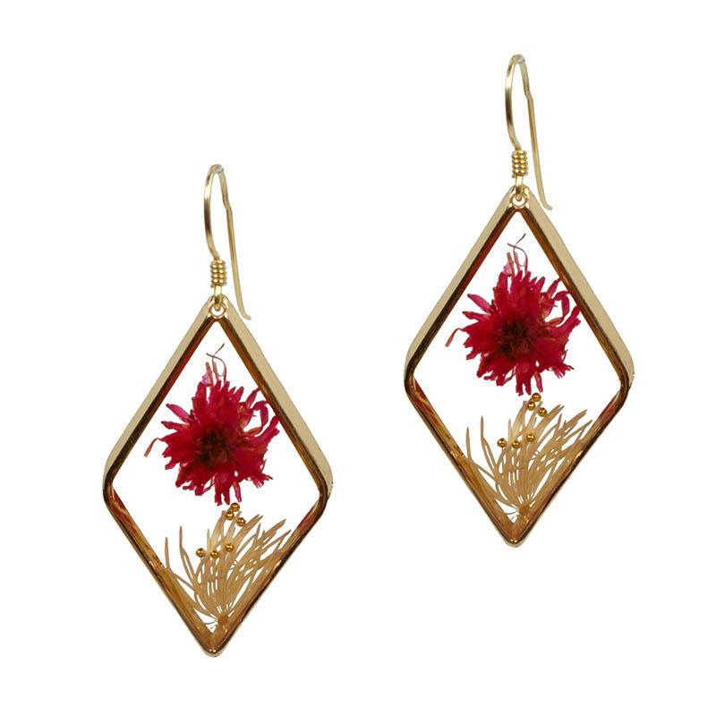 Jt Ασημένια χρυσά κρεμαστά σκουλαρίκια αποξηραμένο λουλούδι