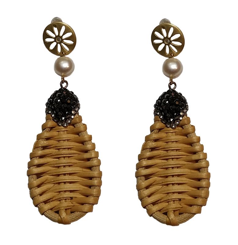Jt Επιχρυσωμένα boho σκουλαρίκια ψάθα με μαργαριτάρια