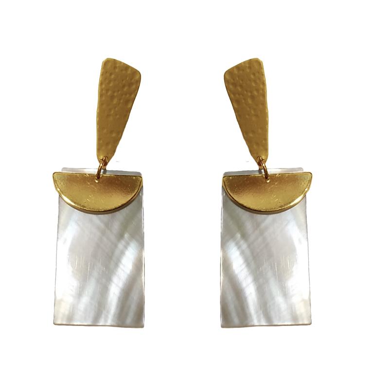 Jt Γεωμετρικά μεταλλικά χρυσά σκουλαρίκια φίλντισι