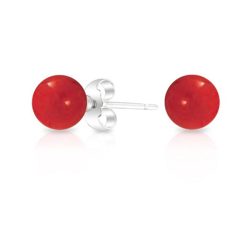 Jt Ασημένια καρφωτά σκουλαρίκια κόκκινες πέρλες 10mm