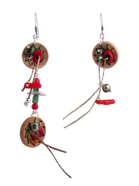 Jt Ασημένια κρεμαστά σκουλαρίκια κουμπιά από φελλό