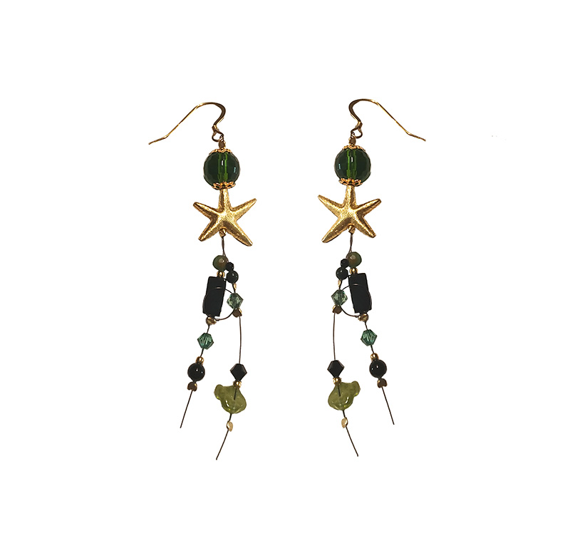 Jt Ασημένια σκουλαρίκια χρυσό αστέρι και Swarovski