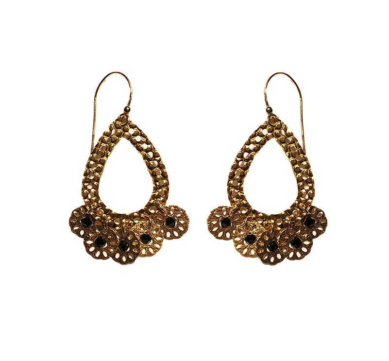 Jt Ασημένια χρυσά σκουλαρίκια Boho Swarovski