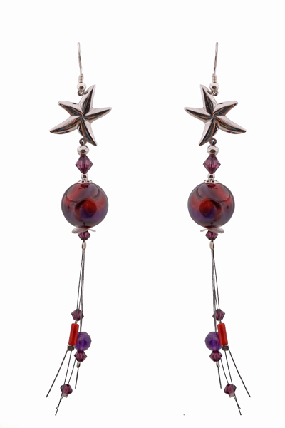 Jt Ασημένια σκουλαρίκια αστερίες με φίλντισι και Swarovski