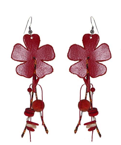 Jt Ασημένια σκουλαρίκια κόκκινα δερμάτινα λουλούδια
