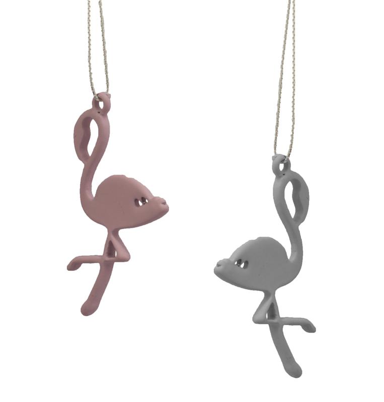 Jt Ασημένια κρεμαστά σκουλαρίκια Φλαμίνγκο ροζ - γκρι