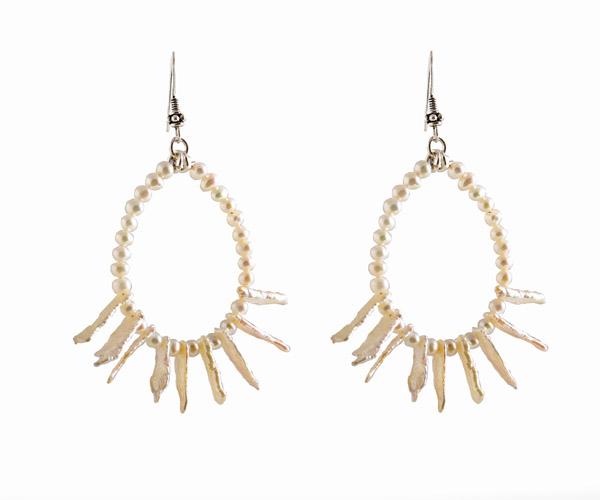 Jt Ασημένια κρεμαστά σκουλαρίκια λευκά μαργαριτάρια