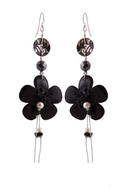 Jt Ασημένια κρεμαστά σκουλαρίκια μαύρα λουλούδια