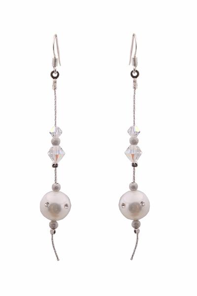 Jt Ασημένια σκουλαρίκια αλυσίδα λευκά shell pearls με Swarovski